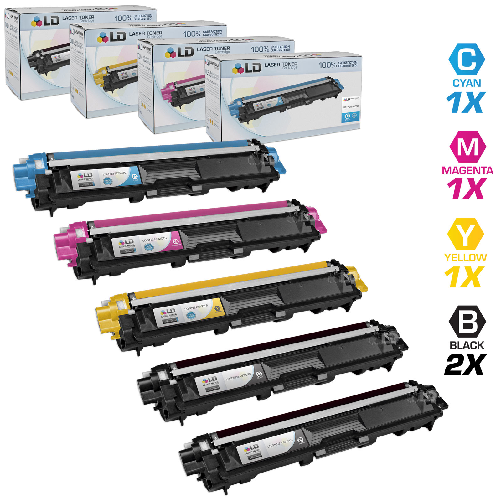 LD Brother Compatible TN221 & TN225 Bulk Set of 5 laser toner Cartridges:  2 of Black & 1 Cyan / Magenta / Yellow for