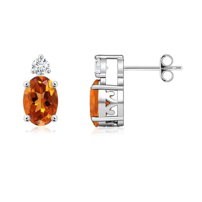 Angara Basket-Set Oval Citrine Stud Earrings with Diamond in Yellow Gold mXbJLI
