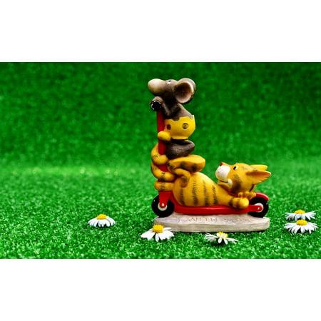 Fun Center Cat - LAMINATED POSTER Cat Figures Cute Mouse Fun Roller Decoration Poster Print 24 x 36