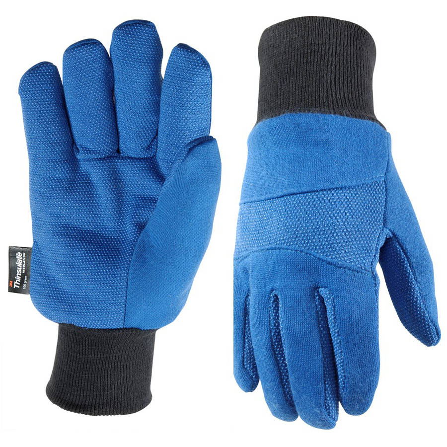Wells Lamont Insulated Thinsulate Jersey Cold Weather Work Gloves, Blue