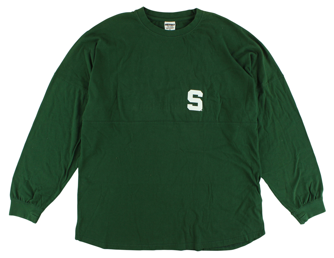 Press Box Womens Michigan State Spartans Sweeper Long Sleeve T Shirt Green by