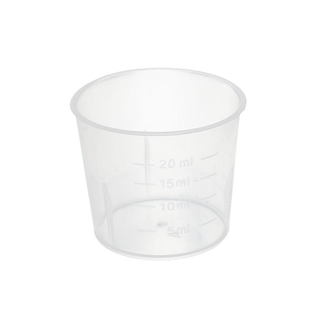 20mL School Laboratory Transparent Plastic Liquid Container Measuring Cup Beaker by Unique-Bargains