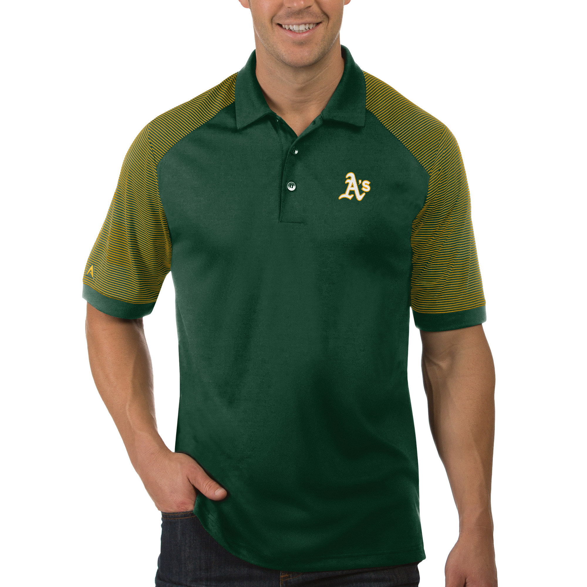 Oakland Athletics Antigua Engage Polo - Green/Gold