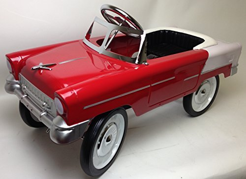 55 Classic Pedal Car in Red and White. All Steel with Black Padded Seat by