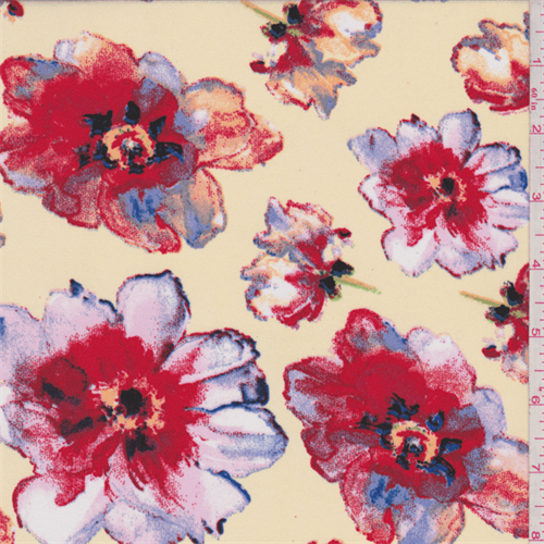 Yellow/Red Large Floral Print Dobby Crepe, Fabric By the Yard