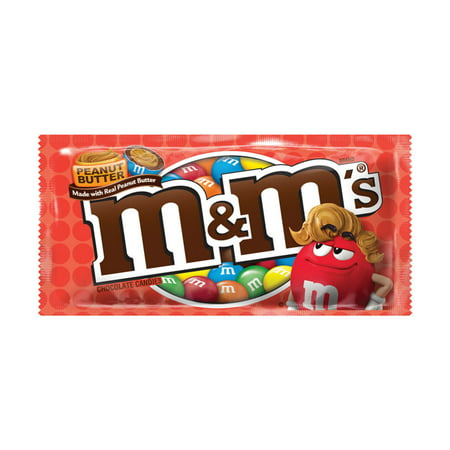 M&M'S Peanut Butter Chocolate Candy Singles Size, 1.63 Ounce