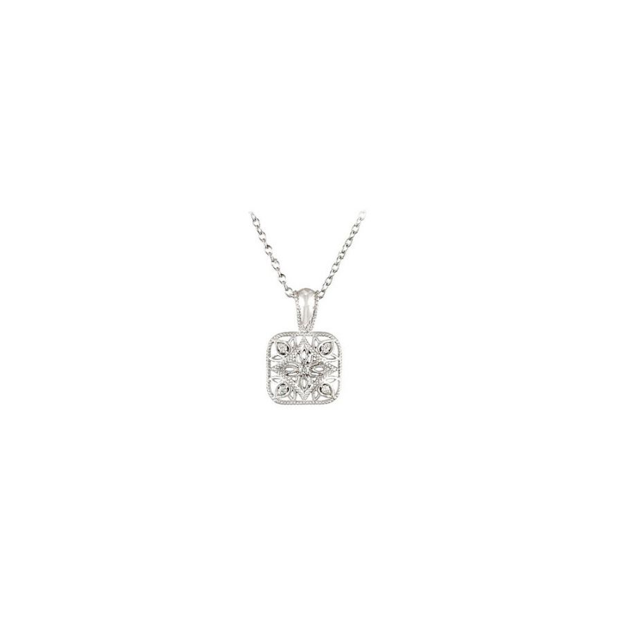 LoveBrightJewelry Sterling Silver 0.05 CT TW Diamond 18 I...