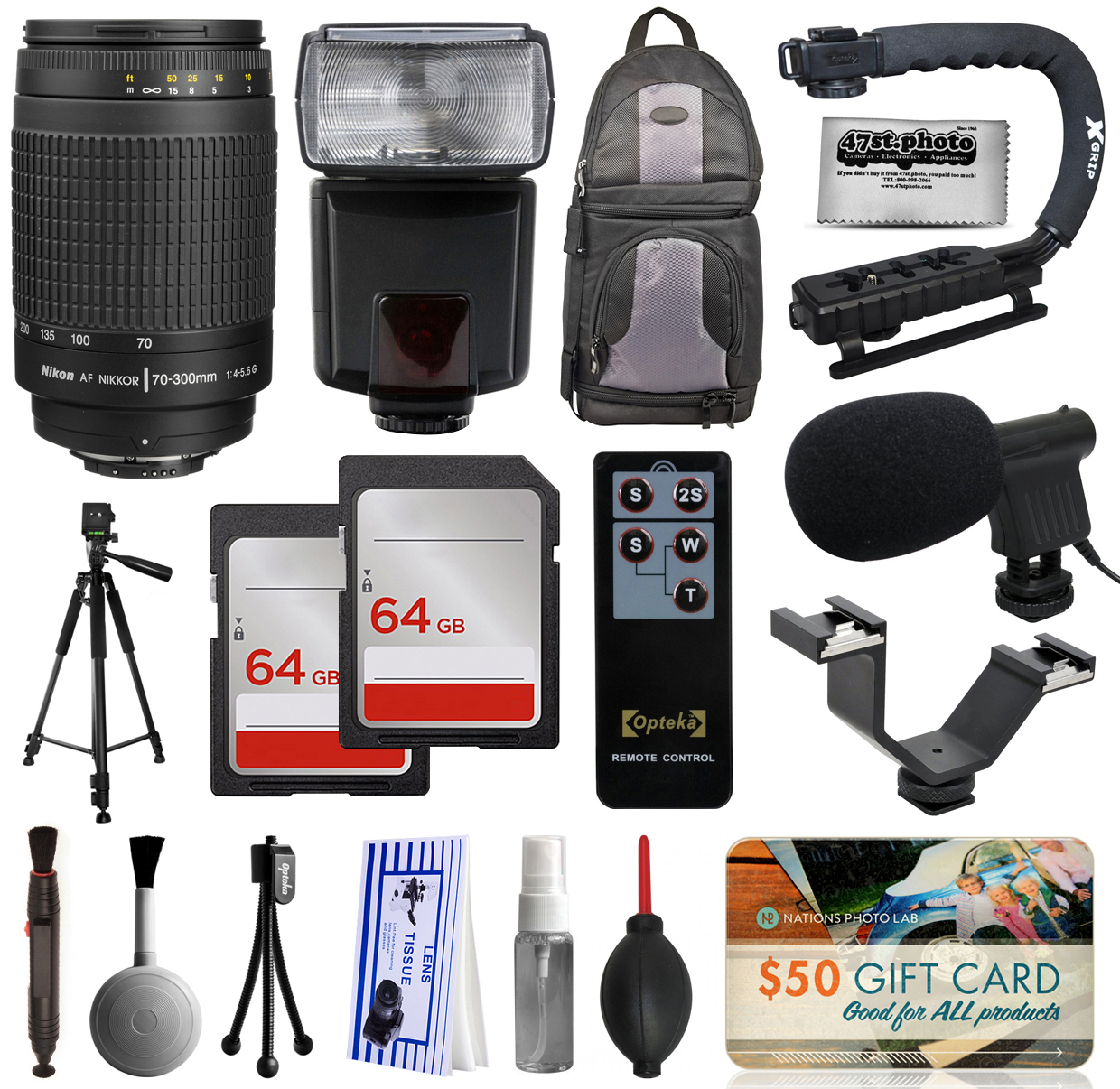 Must Have Accessories with Nikon 70-300mm Manual Lens 1928 + Flash + Backpack + 128GB Memory + Microphone for Nikon DF D7200 D7100 D7000 D5500 D5300 D5200 D5100 D5000 D3300 D3200 D3100 D3000 D300S D90