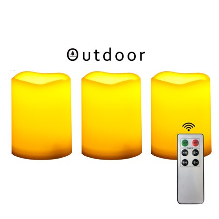 Outdoor Indoor Flameless LED Battery Operated Pillar Candles with Remote and Timer 3
