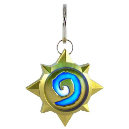 Hearthstone Logo Keychain Light Up LED Glow in Dark | Blizzard World of Warcraft Led Lighted Logo Keychain