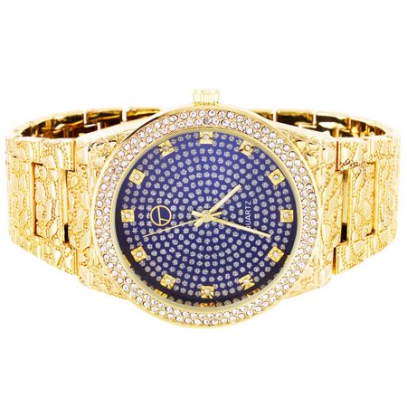 Mens Royal Blue Bling Face Bezel Nugget Band Classy Techno Pave Watch