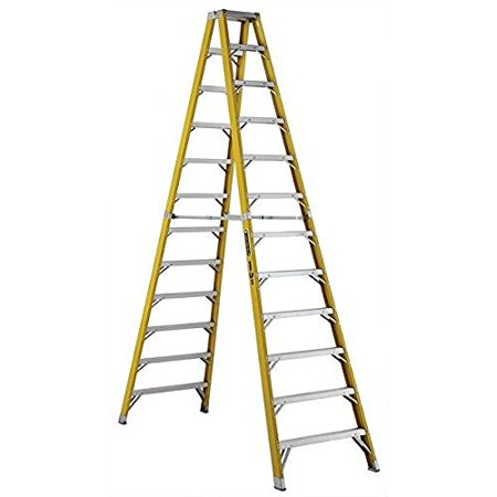 louisville ladder 14 ft fiberglass step ladder with 375 lb load capacity. Black Bedroom Furniture Sets. Home Design Ideas