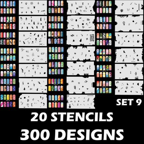 300 Airbrush Nail Art STENCIL DESIGNS Set 9 - 20 Template Sheets Kit Brush Paint NAIL-SET9