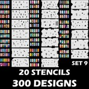 Custom Body Art Airbrush Nail Stencils - Design Series Set # 9 includes 20 Individual Nail Templates with 15 Designs