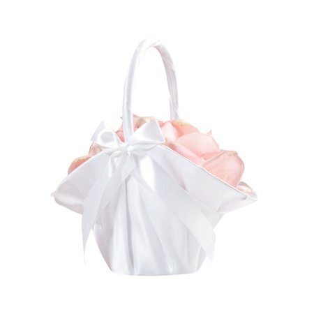 Lillian Rose Large Satin Flower Girl Basket - White (White Flower Girl Basket)
