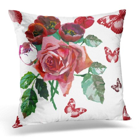 CMFUN Green Vintage Hand Painting Flowers Red Rose and Tulips Watercolor Budget on White Bloom Pillow Case Pillow Cover 18x18 inch
