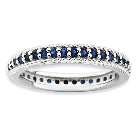 Sterling Silver Stackable Expressions Polished Cr. Sapphire Eternity Ring Size 5 - image 1 de 3