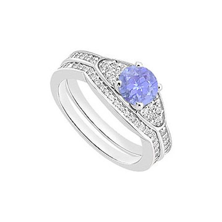 14K White Gold Created Tanzanite Engagement Ring with Cubic Zirconia  Wedding Bands of 1 05 CT TG