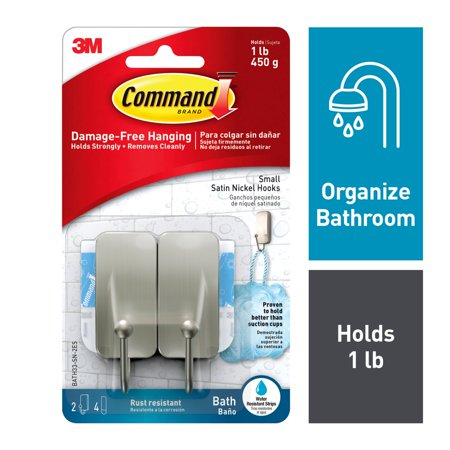 Command Bath Small Hook, Satin Nickel, 2 Hook, 4 Small Water-Resistant