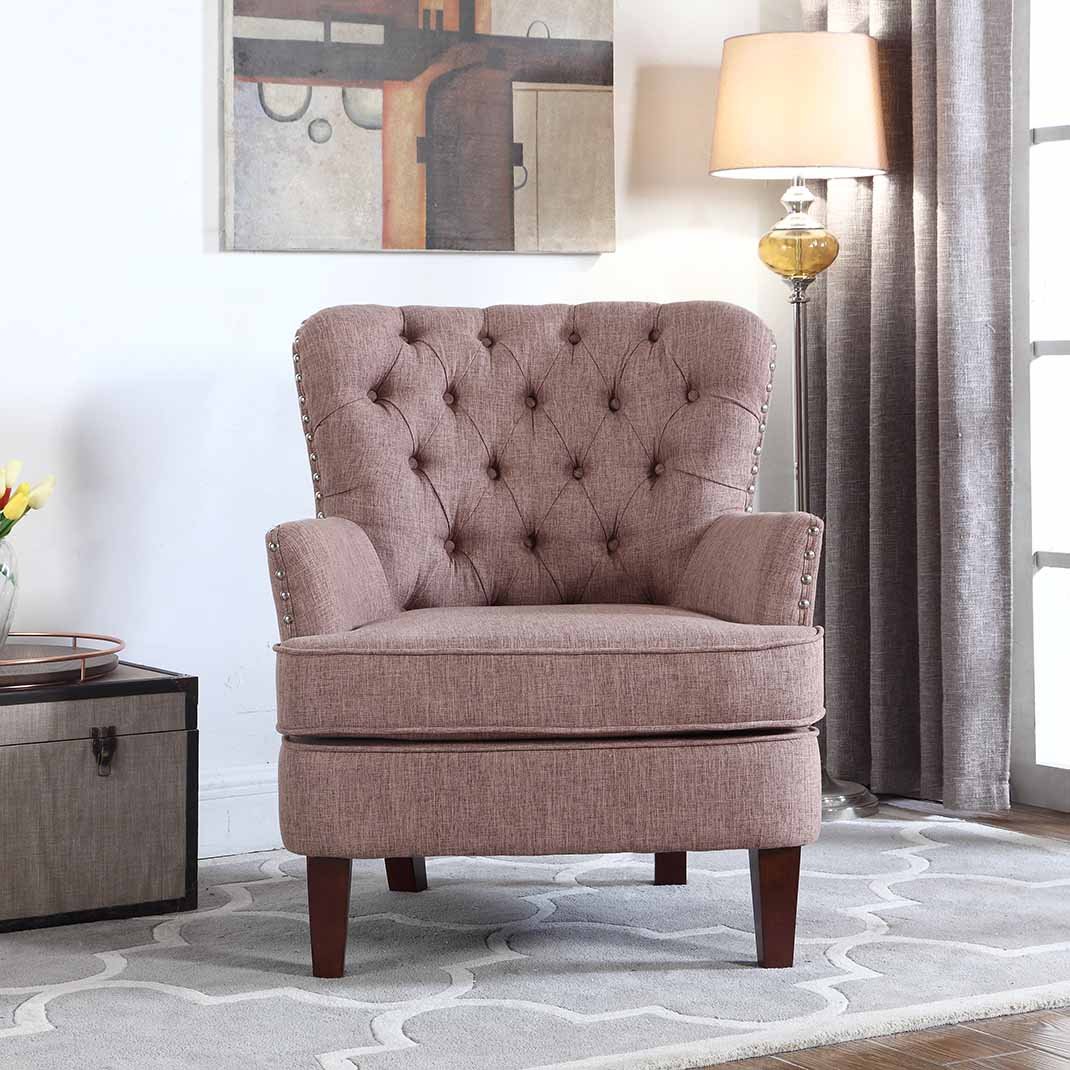 Button Tufted Accent Chair with Nailhead, Brown Color
