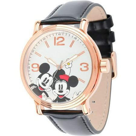 Disney Mickey & Minnie Men's Shinny Rose Gold Vintage Articulating Alloy Case Watch, Black Leather Strap