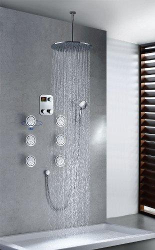 Chrome Rainfall Thermostatic Shower Combo Set Luxury Shower System Massage Jets