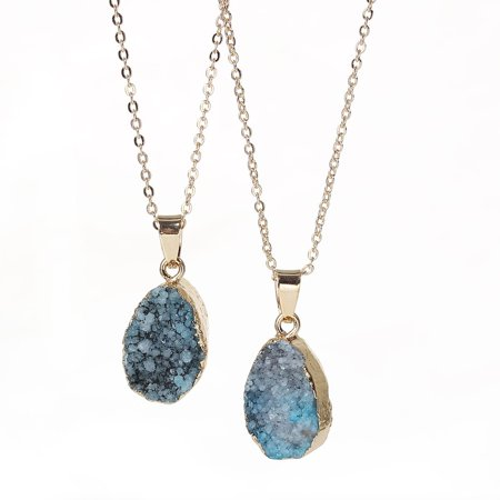 SEXY SPARKLES Natural Stone Druzy Drusy Necklace Pendant Link Cable Chain Peacock Blue Drop