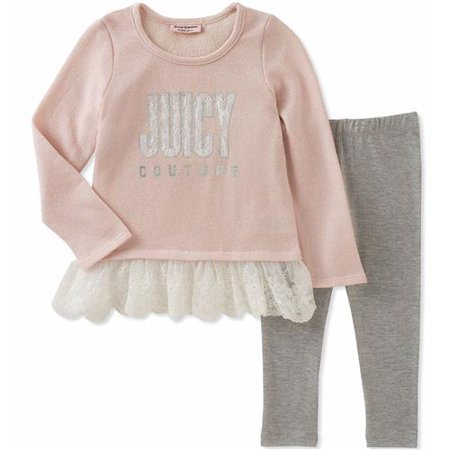 Juicy Couture Girls 12-24 Months Sparkle Lace Tunic Legging Set(Light Pink 12 Months)