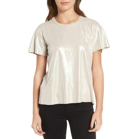 Metallic Knit Shimmer (Womens Metallic Side Slits Shimmer Knit Tee Top)