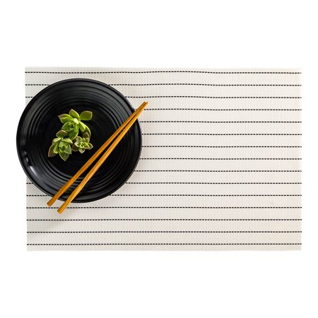 Carmel Mesh White Vinyl Woven Placemat - Pick Stitch - 16