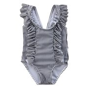 stylesilove Baby Girl Ruffle Striped Swimsuit One-Piece (90/12-18 Months, Black)