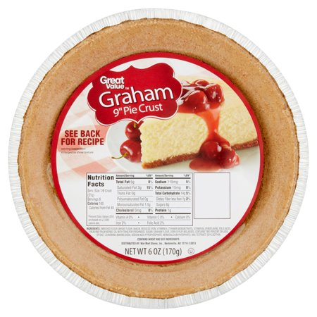 (3 Pack) Great Value: Graham Cracker Ready Pie Crust, 6 ounce