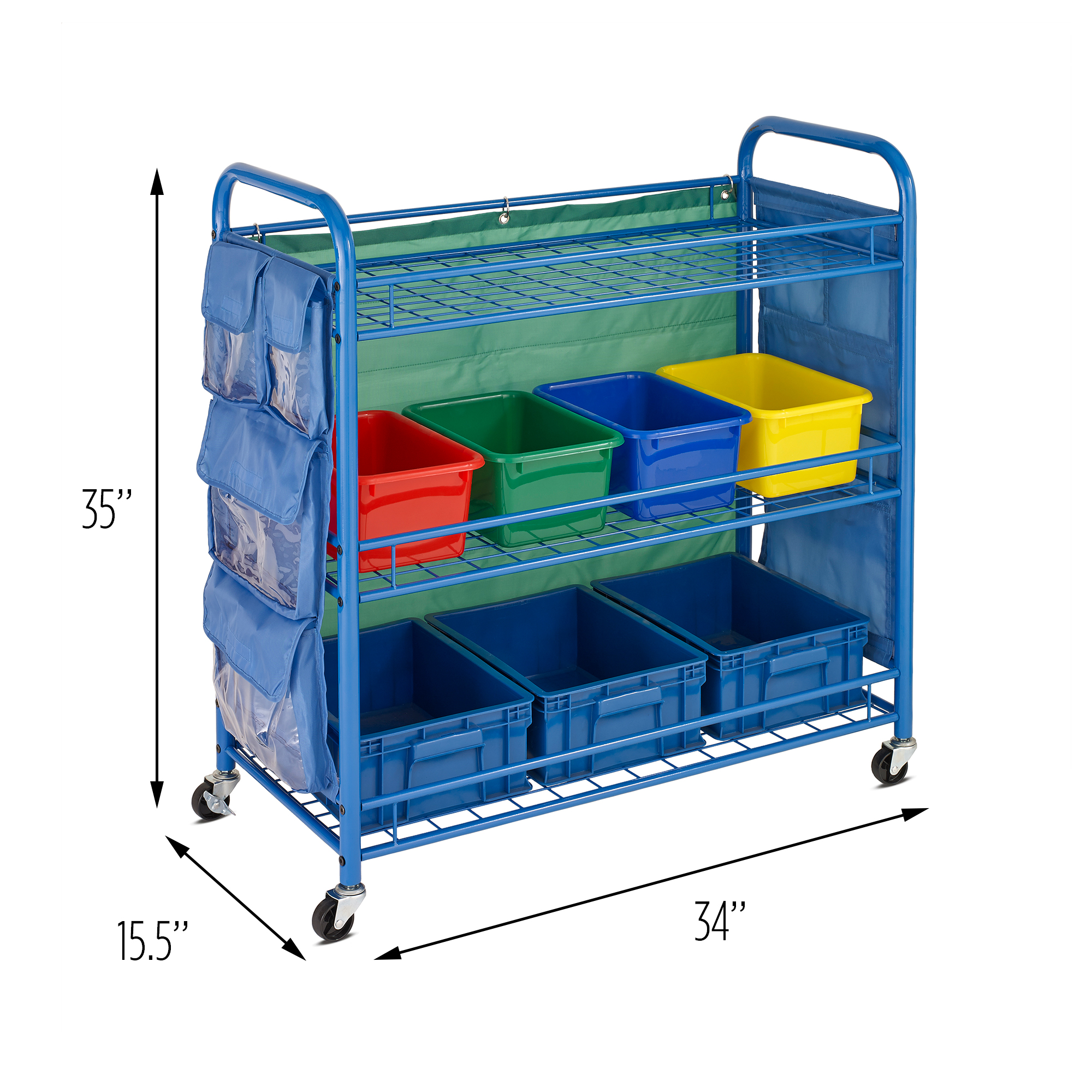 Honey Can Do All-Purpose Rolling Cart for Teachers with Side Pockets, Blue