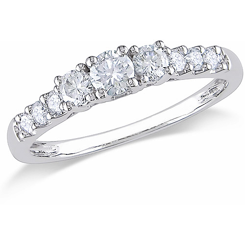 Miabella 1/2 Carat T.W. Diamond 14kt White Gold Three-Stone Engagement Ring