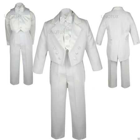 WEDDING FORMAL White 5PC TAIL TUXEDO SUITs BABY INFANT TODDLER Kid Teen BOY S-20 - Tail Tuxedo
