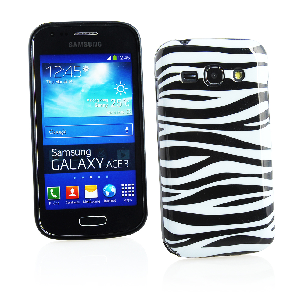 KMO Samsung Galaxy Ace 3 S7272 S7275 Cover Case [Shock Absorbing] [Thin Fit] Soft TPU Gel Skin Protection - Black / White Zebra