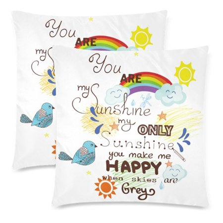 YKCG You Are My Sunshine You Make Me Happy Pillowcase Pillow Cushion Case Cover 18x18 Twin Sides, Bird Cloud and Sun Polyester Zippered Throw Pillow Case Decorative, Set of 2 ()