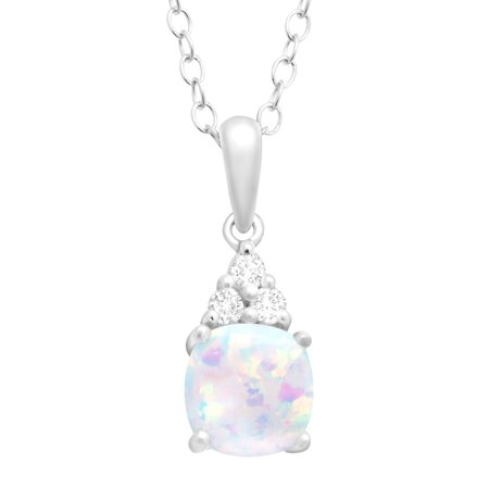 Cushion-Cut Created Opal and White Topaz Pendant Necklace in Sterling Silver, 18