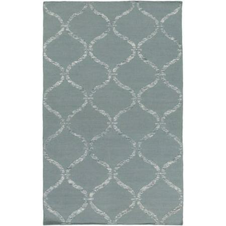 - 6' x 9' Egyptian Windows Slate Gray and Ivory White Area Throw Rug