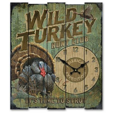 - American Expedition Wild Turkey Hunt Club Wall Clock