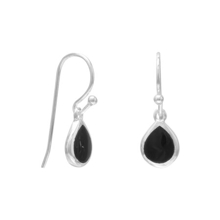 - Ster. Silver Pear Inlay Black Onyx French Wire Earrings Height Is 21mm Approx 7.5mm Black Onyx Drop