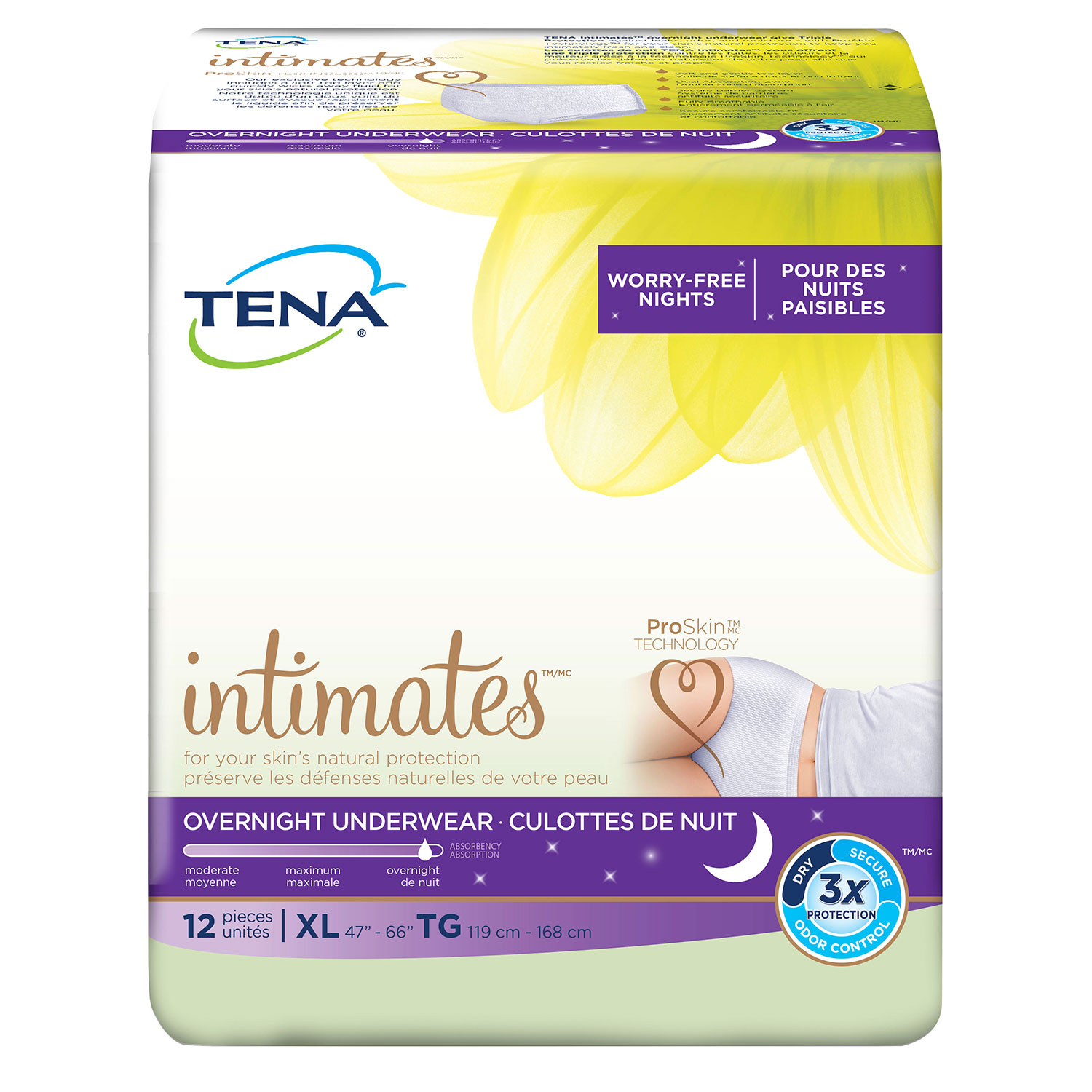 Tena Incontinence Underwear, Overnight, XLarge, 12 Ct