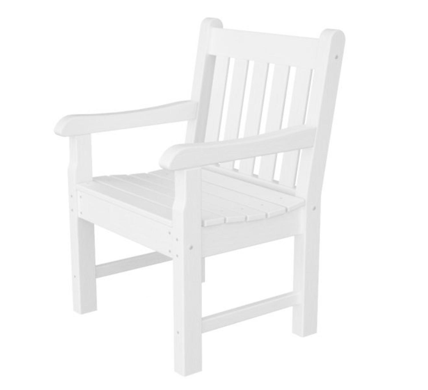 Recycled Earth-Friendly Nantucket Outdoor Patio Arm Chair - White