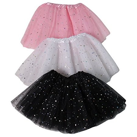 Girls Ballerina Sparkle or Chiffon Tutu Beginner 3 Pack Dress Up Set Black sparkleWhite sparklePink sparkle