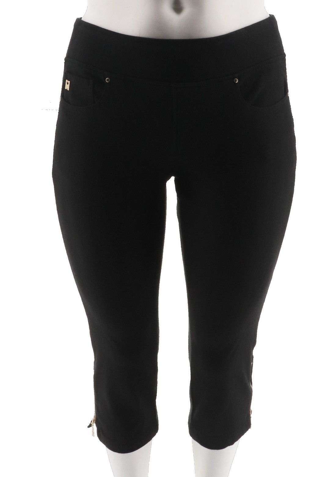 Belle Kim Gravel Flexibelle Pull-On Cropped Jeans Petite Black 18WP NEW A301516