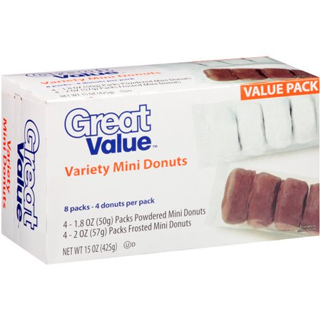 Great Value Variety Mini Donuts 8 Count 15 Oz