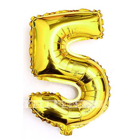 Foil Number 5 Shape Helium Balloon Birthday Wedding Party Decor Gold Tone 30""
