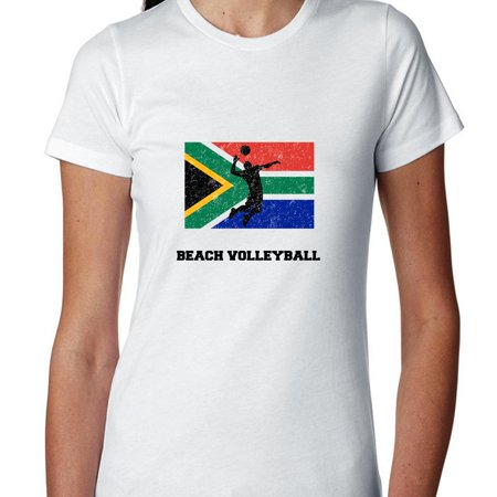 South Africa Olympic   Beach Volleyball   Flag   Silhouette Womens Cotton T Shirt
