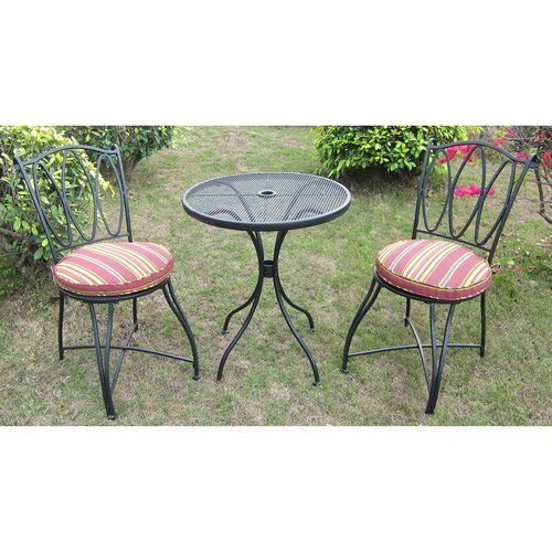 Mainstays Scroll and Stripe 3-Piece Outdoor Bistro Set, Seats 2