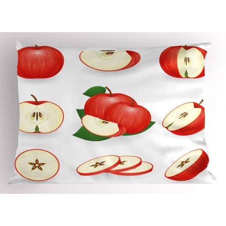 - Sweet Pillow Sham Yummy Chopped Apple Slices Juicy Fresh Fruits Delicious Nature Illustration Print, Decorative Standard Size Printed Pillowcase, 26 X 20 Inches, Cream Scarlet, by Ambesonne